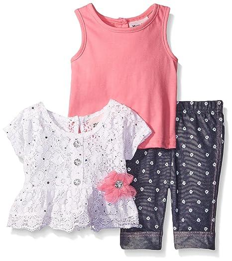 b7ba8cf16a0f Amazon.com  Little Lass Baby Girls  3 Piece Capri Set Disco Dot Lace ...