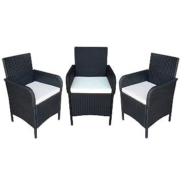 Amazonde Mcombo 3x Stuhl Polyrattan Gartenmöbel Essgruppe