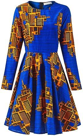 de02f00f66 Amazon.com  Shenbolen Women African Print Dress Dashiki Traditional  Clothing Party Dresses  Clothing
