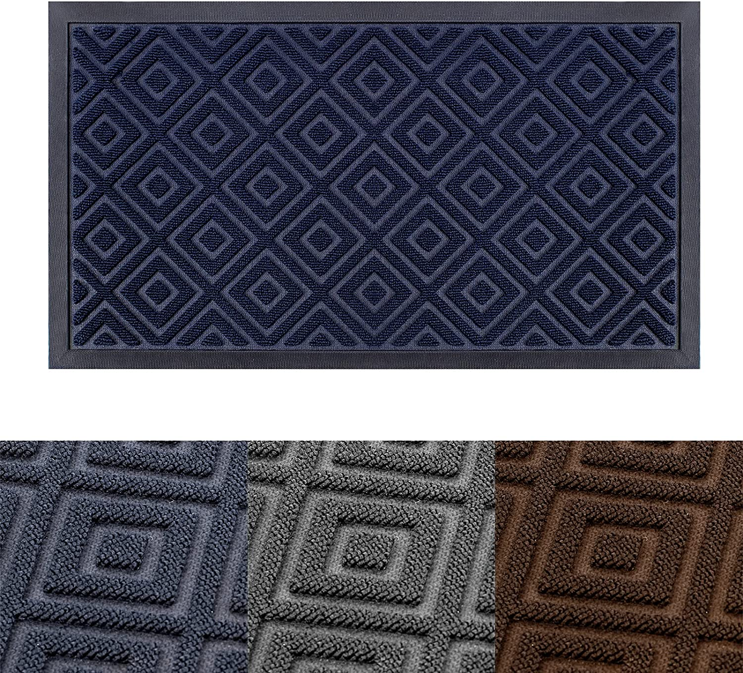 """Entry Mats for Front Door - Durable Outdoor Indoor Entry Rug Home Welcome Doormat Low-Profile Entrance Rug for Livingroom, Laundry, Bathroom Entryway (35""""x23.5"""", Navy Blue)"""
