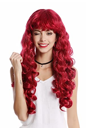 WIG ME UP ® - 0082-ZA13A Peluca Mujer Carnaval Halloween Larga rizada voluminosa Flequillo