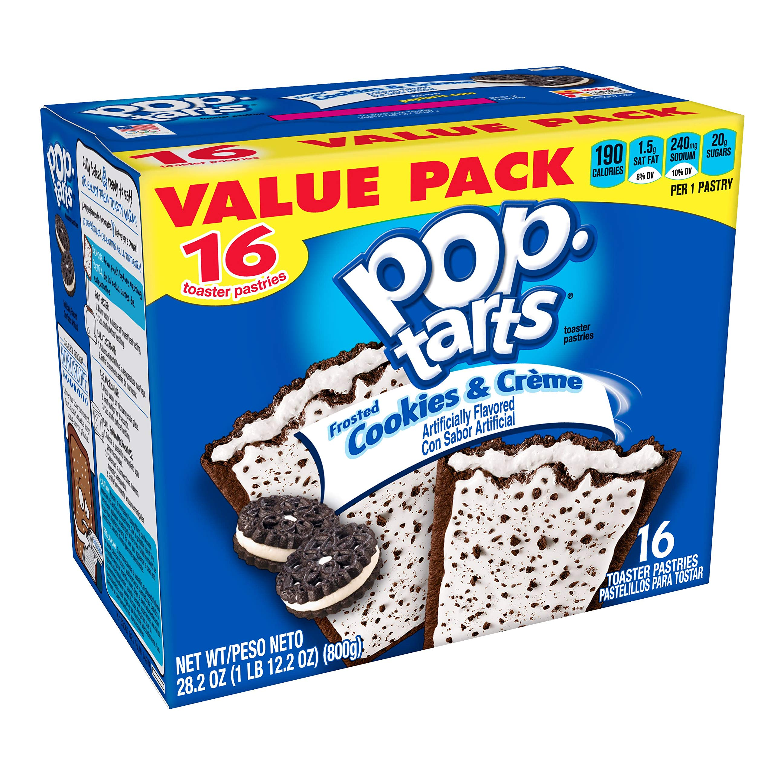 Pop-Tarts Breakfast Toaster Pastries, Frosted Cookies and Crème Flavored, Bulk Size, 128 Count (Pack of 8, 28.2 oz Boxes)