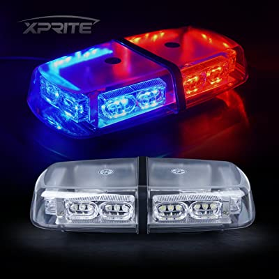 Xprite Gen 3 Red Blue 36 LED 18 Watts Roof Top Hign Intensity Law Enforcement Emergency Hazard Warning LED Mini Bar Strobe Light with Magnetic Base: Automotive