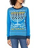 Christmas Ugly Sweater Co Womens SWP6-1741BAMZ Light-up Light My Menorah Pullover Sweater - Blue