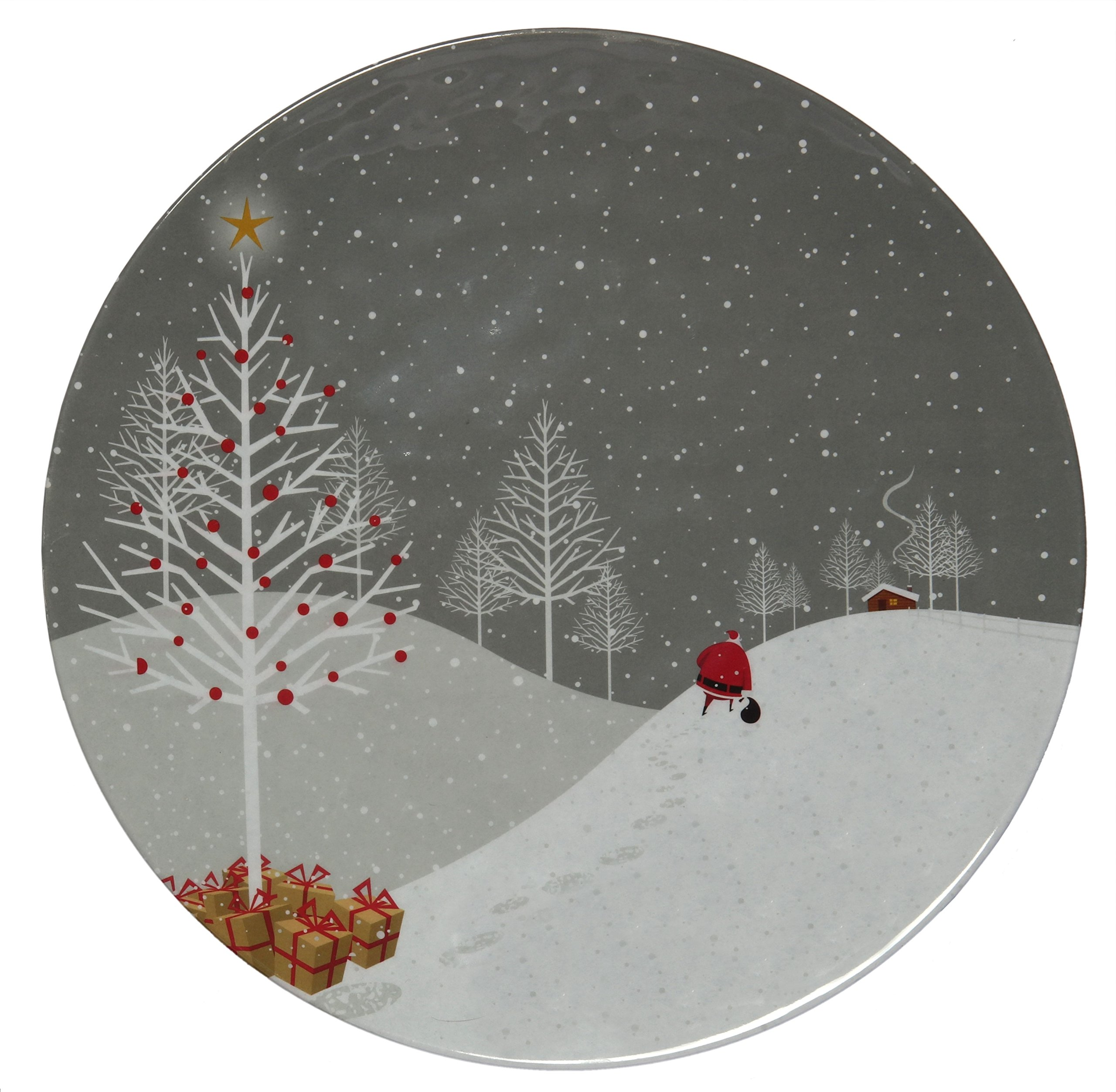 Melange 36-Piece 100% Melamine Dinner Plate Set (Santa Comes Home Collection ) | Shatter-Proof and Chip-Resistant Melamine Dinner Plates
