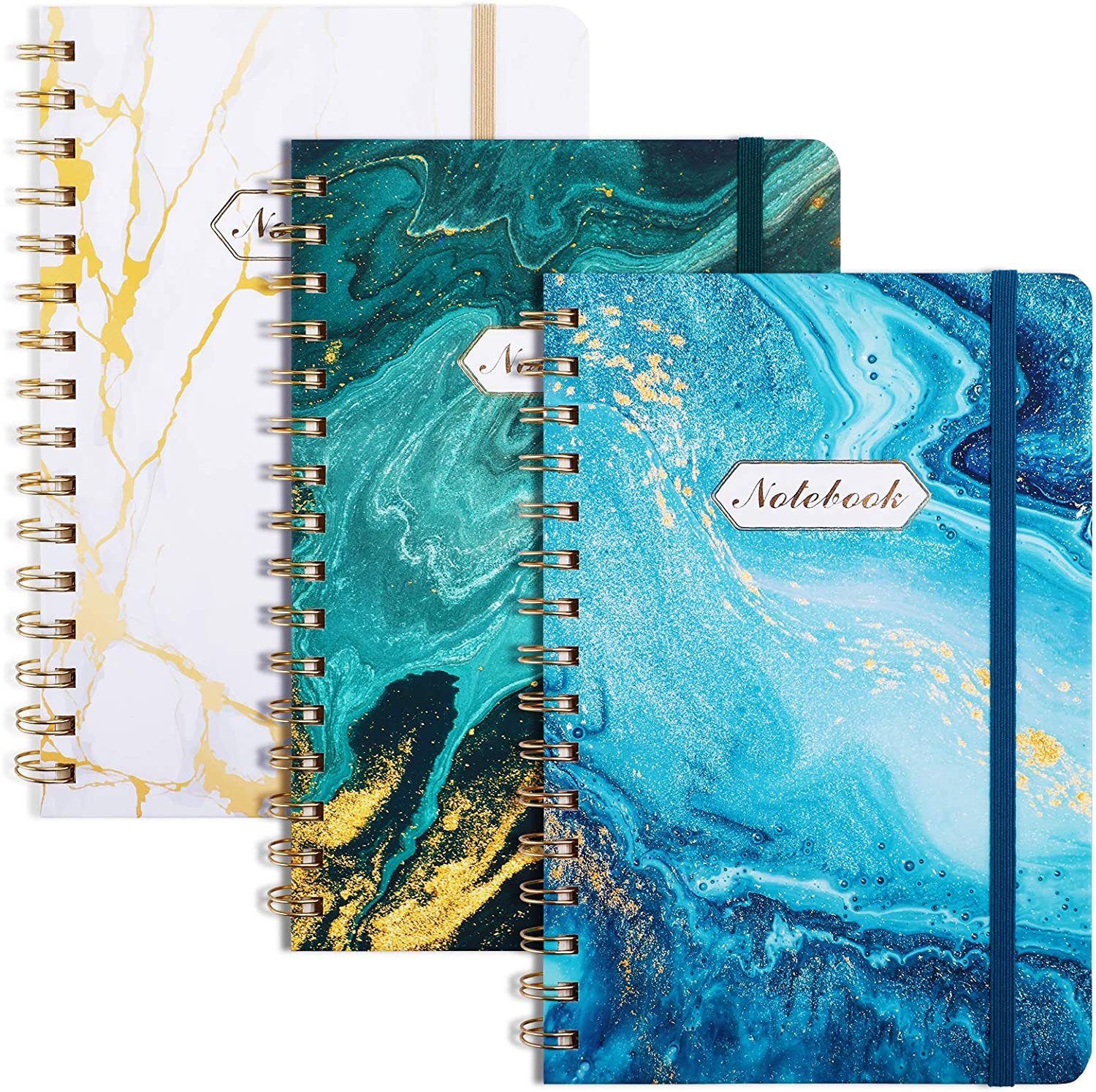 """EOOUT 3 Pack A5 Ruled Journal/Spiral Notebook, 6""""x 8.5"""", 160 Pages, Twin-Wire Binding, Marble Pattern, Back Pocket, 100gsm Paper, for Office, School Supplies : Office Products"""