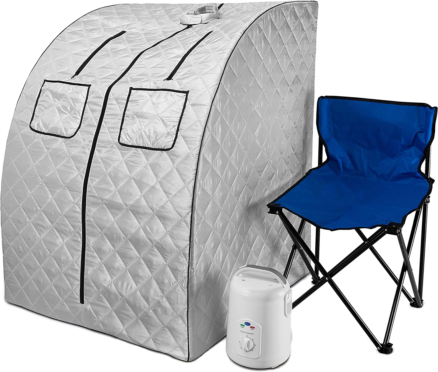 Durasage Oversized Portable Steam Sauna Spa for Weight Loss, Detox, Relaxation at Home, 60 Minute Timer, 800 Watt Steam Generator, Chair Included, 1.5 Year Warranty - Silver