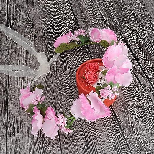 HanLuckyStars Corona de Flores Guirnalda Flores Artificiales para el pelo Elegante Decoradas para Boda Fiesta Viaje Fotografía (Flores Rosas)