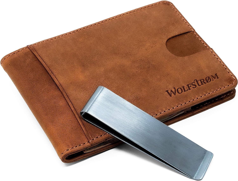 Karten Portemonnaie – Leder-Geldbörse mit Geld-Klammer & RFID-Blocker