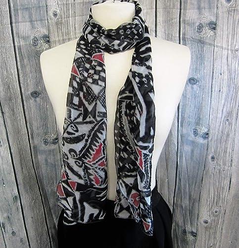 Echarpe en mousseline de polyester noire rouge et blanche  Amazon.fr ... b648ae95e8d