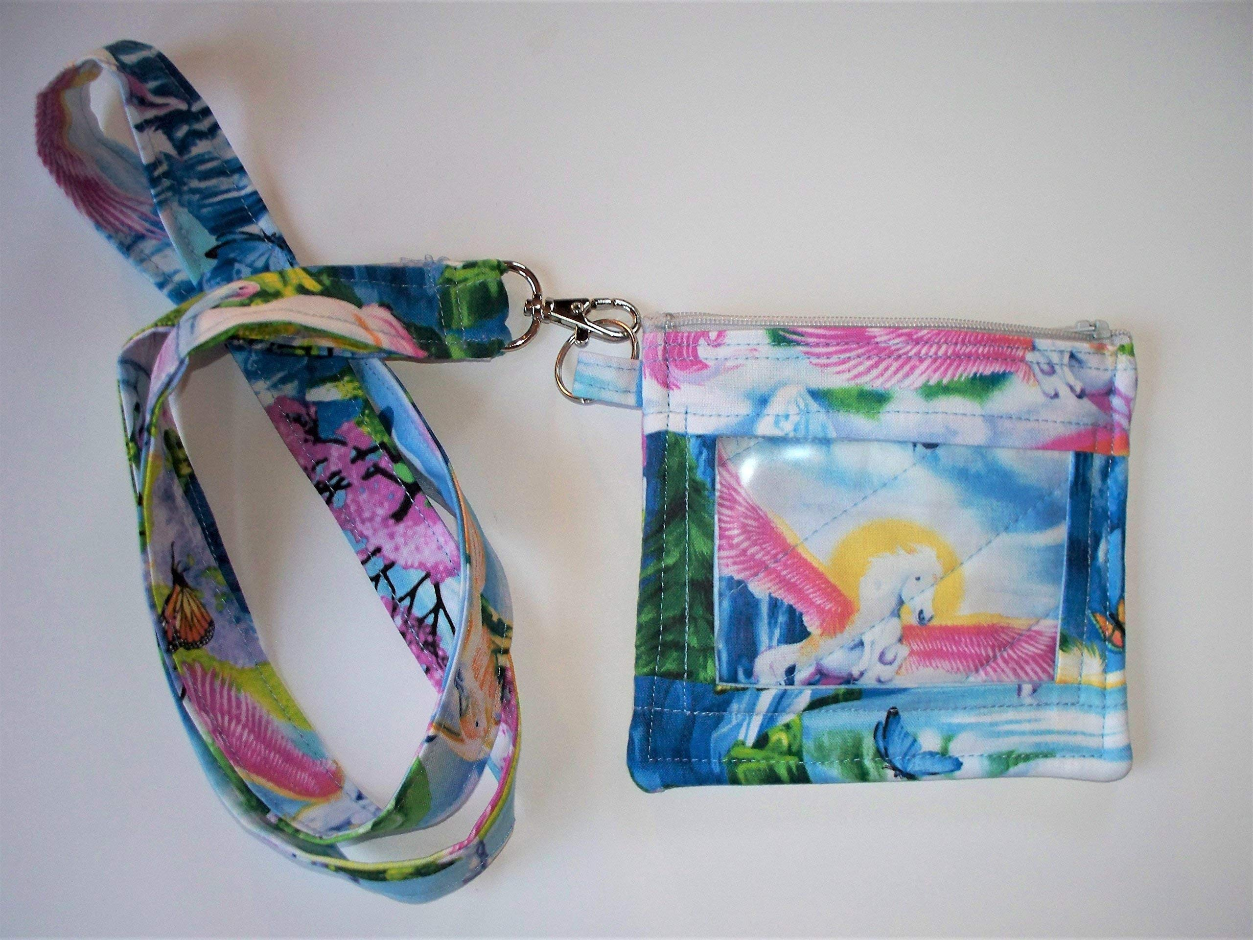 LAST ONE Unicorn and Pegasus ID Holder Lanyard,Work ID,Pass,Coin Purse,Key Chain,Work Security Badge
