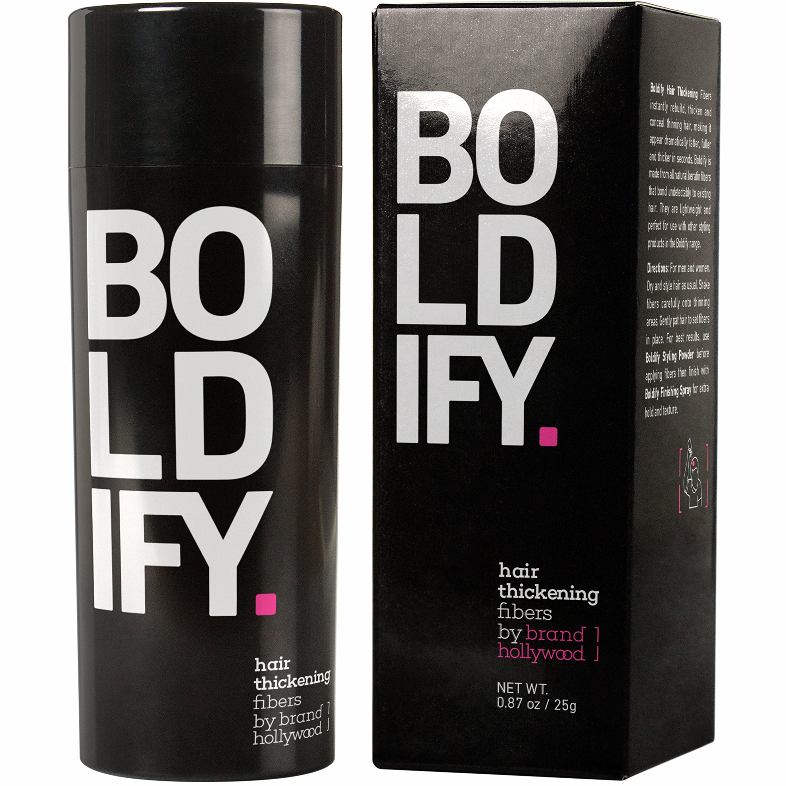 BOLDIFY Hair Fibers for Thinning Hair - 100% Undetectable Keratin Fibers - Giant 25g Bottle - Completely Conceals Hair Loss in 15 Seconds (DARK BROWN)