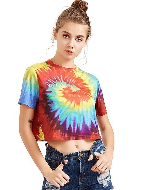57619c22b6 SheIn Women's Tie Dye Print Round Neck Short Sleeve Crop T-Shirt Top ...