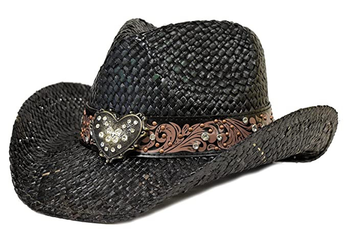 405b28a948d Image Unavailable. Image not available for. Color  Florida Hat Company Bling  Western Hat Heart   Rhinestones Black