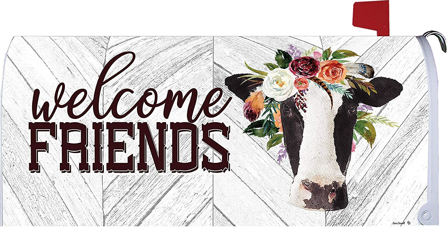 Custom Decor Welcome Friends - Cow - Mailbox Makeover - Vinyl with Magnetic Strips for Steel Standard Rural Mailbox - Made in The USA - Copyright, Licensed and Trademarked Inc.