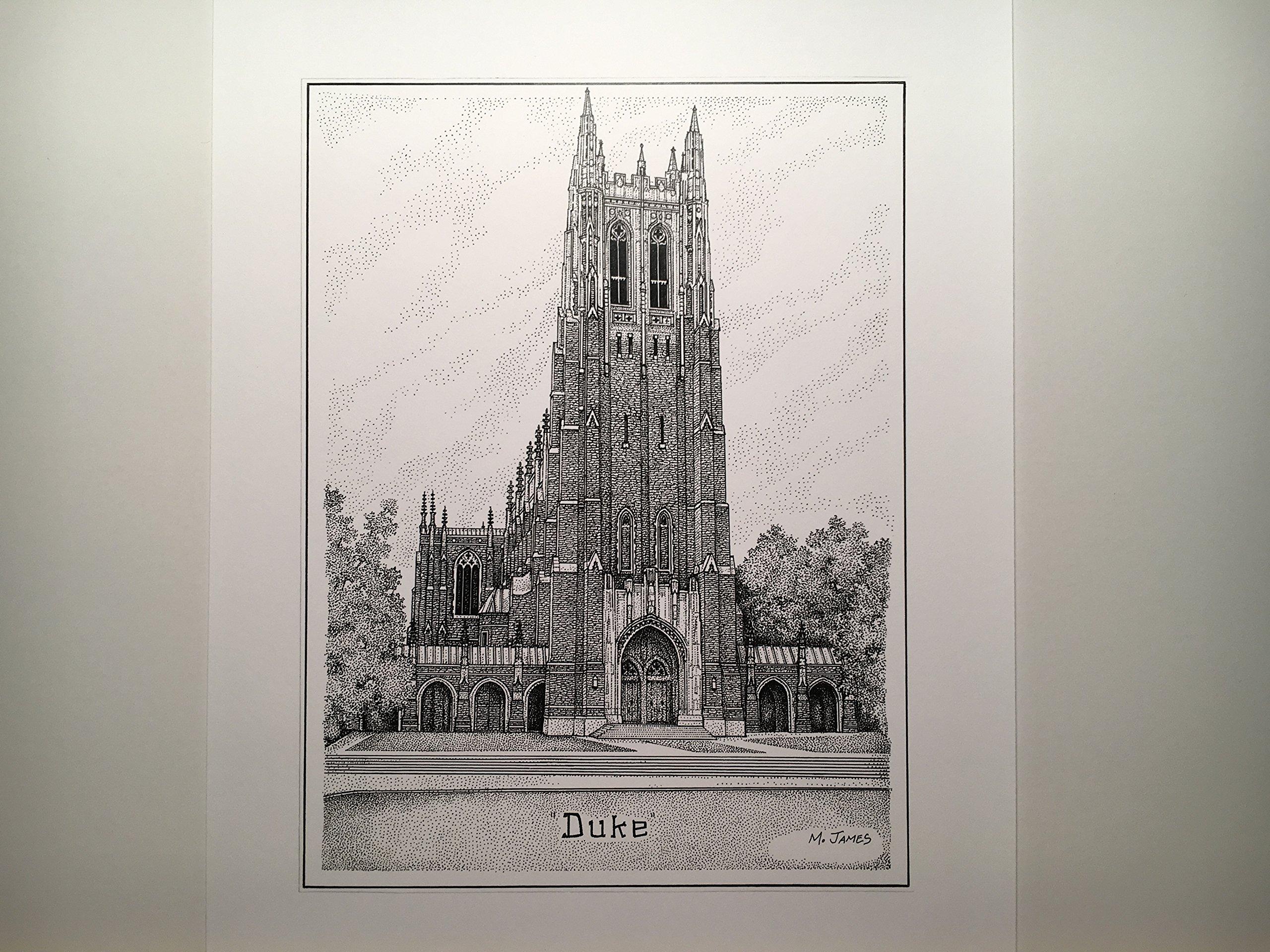 Duke University Chapel 8''x10'' hand-drawn pen and ink print
