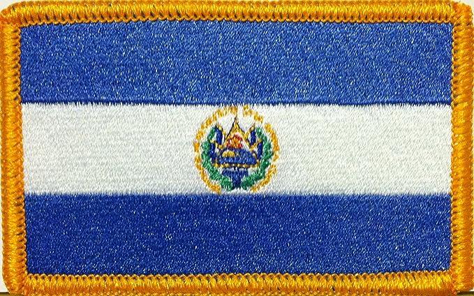El Salvador Bandera bordado parche w/VELCRO emblema Militar hombro borde dorado # 702: Amazon.es: Juguetes y juegos