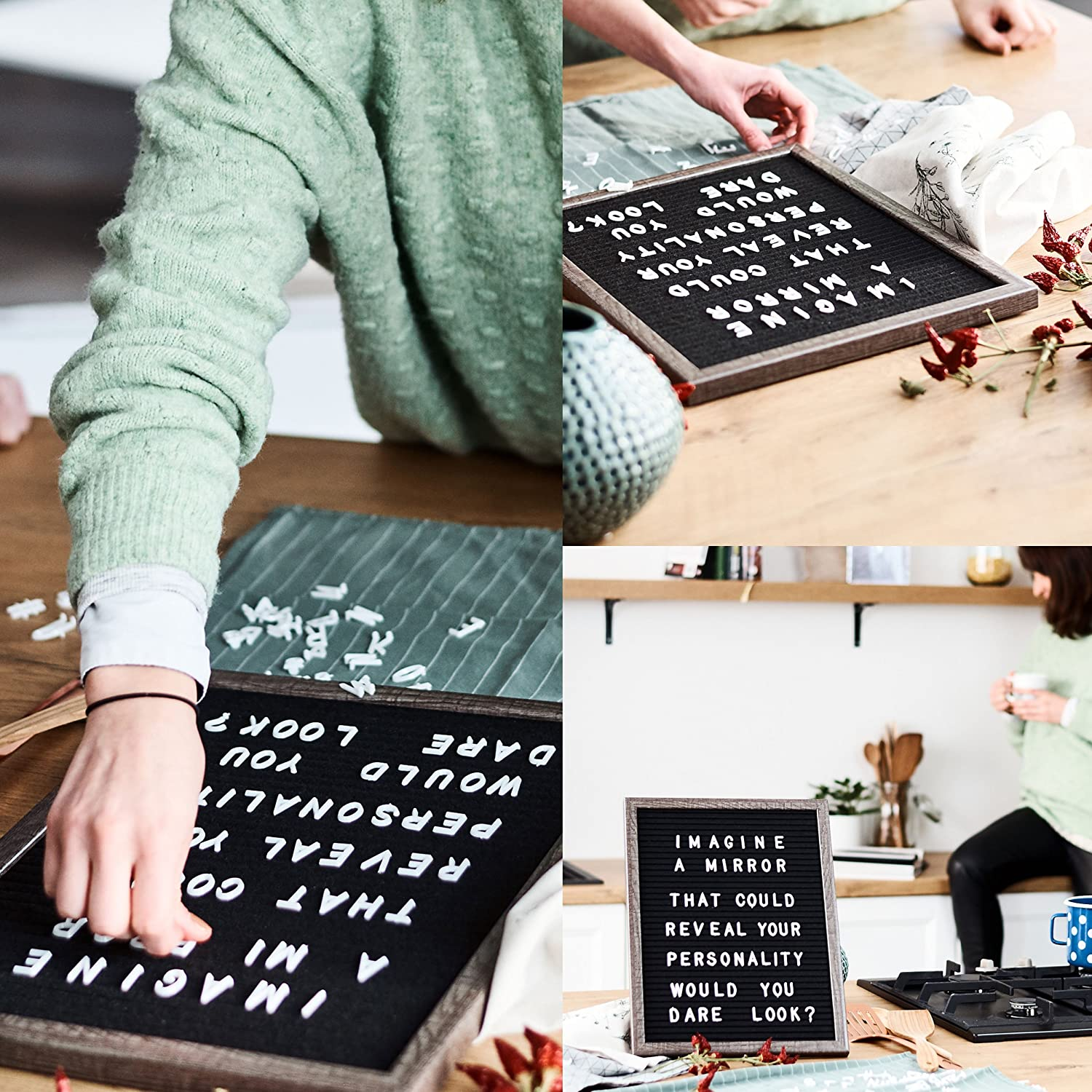 Large Wall Hanging or Table Stand Message System 387 White Characters Storage Bag Changeable Felt Letter Board w// Wood Frame Incl Letters Numbers 12 x 16