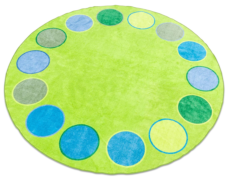 Betzold Spiel-Teppich Dots, weiches Material, runder Kinder-Teppich 300 x 300 cm, extra dickem Flor, schweißfest, runder Kinderspielteppich Kinderzimmer