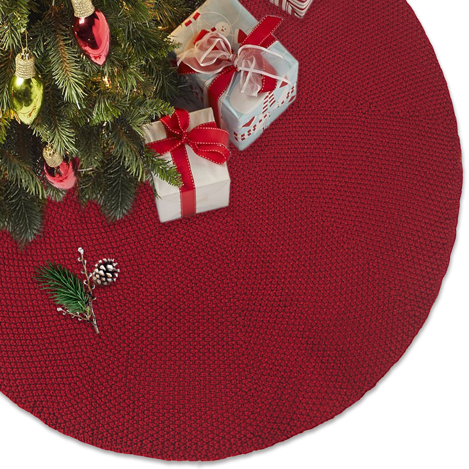 LimBridge 48'' Luxury Knitted Christmas Tree Skirt Thick Heavy Yarn Wine Red Rustic Xmas Holiday Decoration