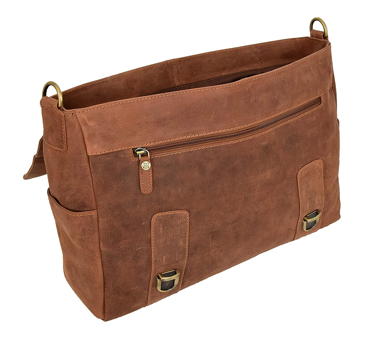 Men Briefcase Vintage Tan Hunter Leather Organiser Soft Satchel Laptop Business Bag Leon
