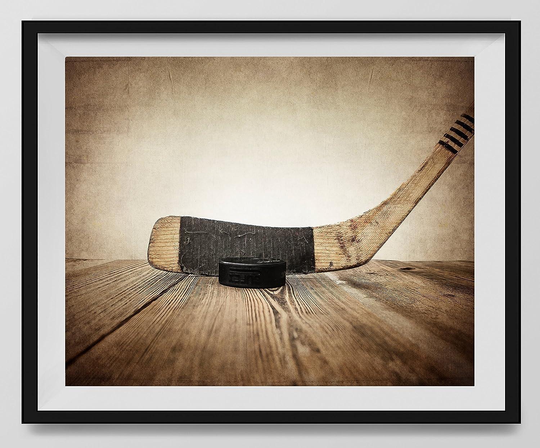 Amazon.com: Vintage Hockey Stick and Puck on Vintage Background Fine ...