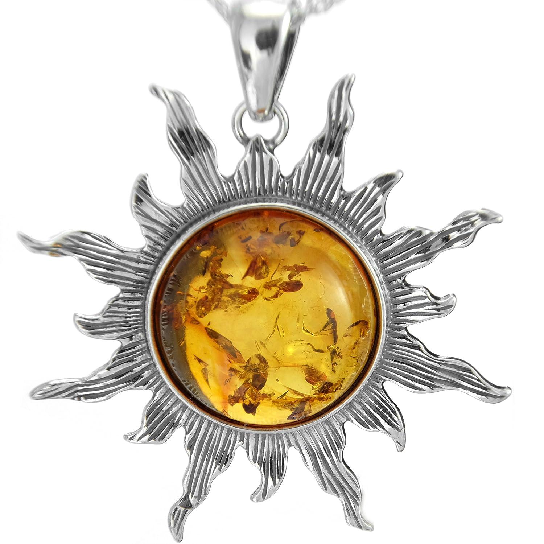 XL 100% Natur Bernstein Sonne Sonnen Anhänger Silber 925 antike Stil, 40mm #1519 BC-Sonneanhänge 001501201519