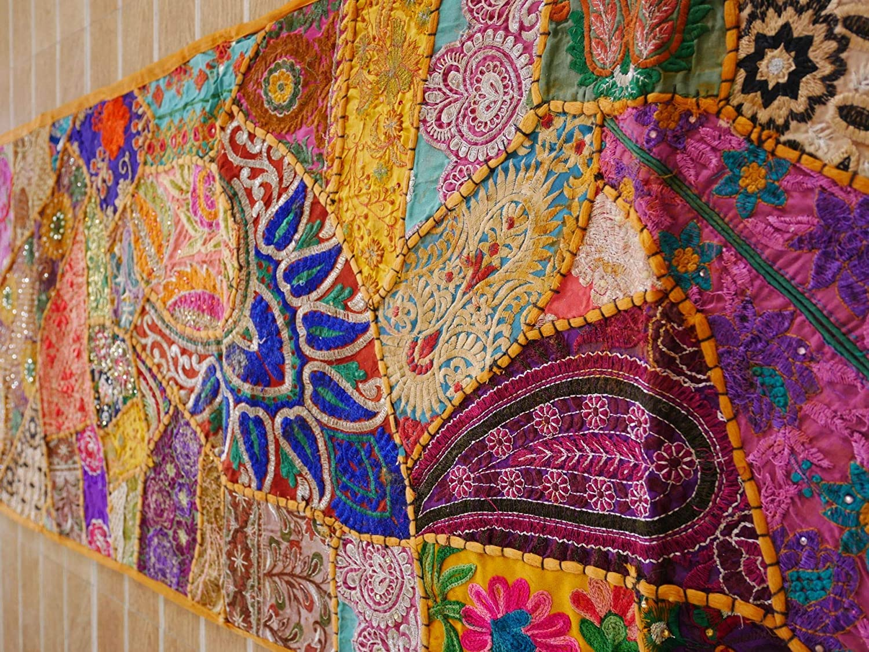 Amazon com boho tapestry wall hanging table runner vintage sari tapestry hippie decor india wall decor handmade