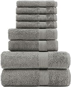 Chakir Turkish Linen Luxury Premium Cotton Long-Stable Turkish Towels (8-Piece, Towel Set - Gray)
