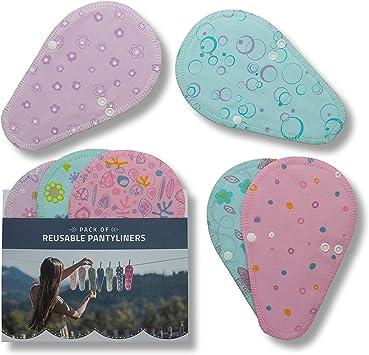 Salvaslips de tela reutilizables TANGA, 7-Pack Protege Slips de algodón con alas HECHAS EN LA UE, Compresas Ecológicas sin PUL, Toallas Sanitarias - el uso diario y flujo blanco, NO para menstruación: