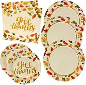 "Thanksgiving Give Thanks Party Supplies Tableware Set 50 9"" Paper Plates 50 7"" Plate 100 Lunch Napkin Elegant Gold Fall Leave Decor for Holiday Harvest Autumn Friends Giving Disposable Dinnerware"