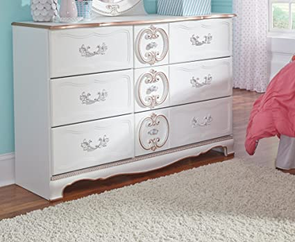 Ashley Furniture Signature Design   Korabella Dresser   6 Drawers  French  Inspired Traditional Styling