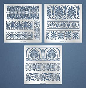 Aleks Melnyk #182 Metal Stencils/Large Greek Ornament, Flowers and Vines, Vintage/Stainless Steel Stencils Set 3 PCS/Templates for Walls, Furniture and Crafts, Wood Burning, Pyrography, Painting/DIY