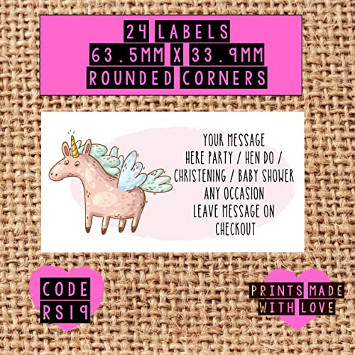 unicorn ballet party bag stickers 24 labels personalised with your
