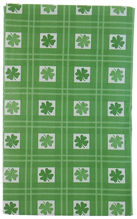 Rows Of 4 Leaf Clover Squares Vinyl Tablecloth For St. Patricku0027s Day On  Green