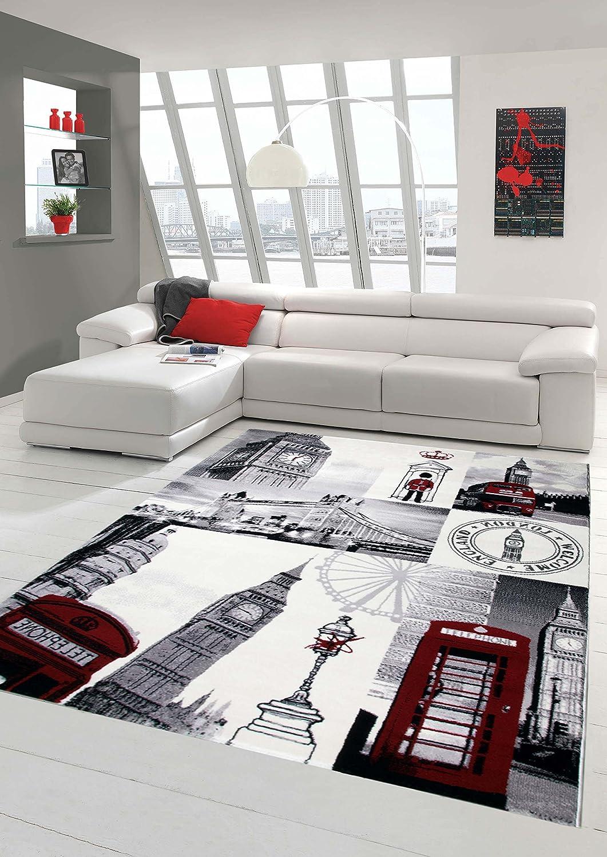 Designer Teppich Moderner Teppich Wohnzimmer Teppich London Motiv Creme Grau Rot Schwarz Größe 140x200 cm