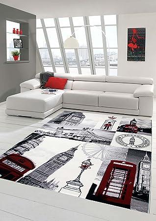 Designer Teppich Moderner Teppich Wohnzimmer Teppich London Motiv ...