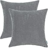 Pack of 2, CaliTime Throw Pillow Covers Cases for Couch Sofa Bed, Comfortable Supersoft Corduroy Corn Striped Both Sides, 18 X 18 Inches, Grey