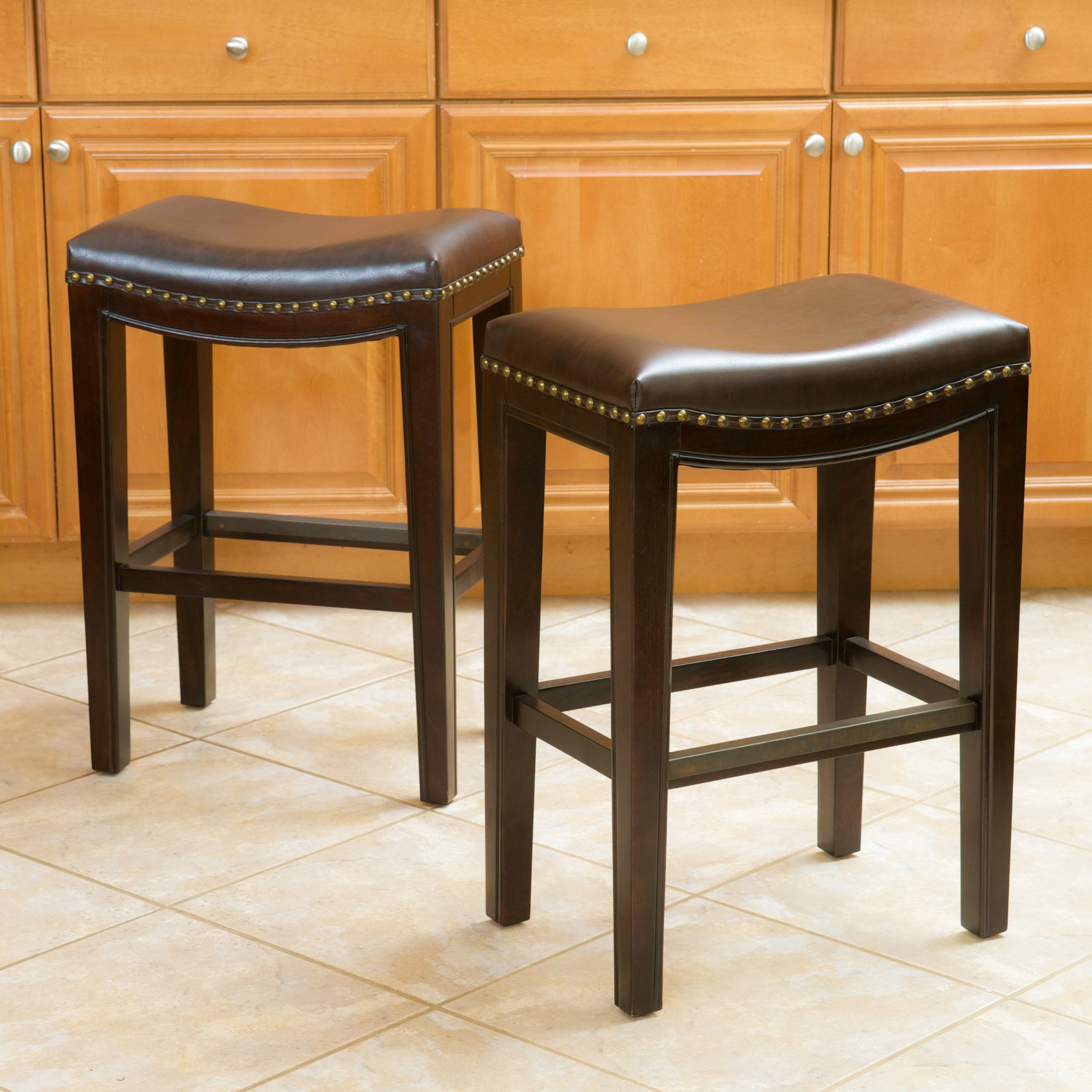 Jaeden Backless Brown Leather Counter Stools (Set of 2)