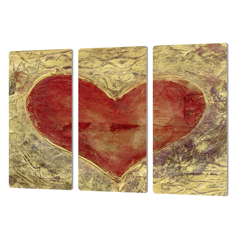 Elana Rays Red Heart of Gold Artmetalz 3 Piece Aluminum Print Set 24 x 36