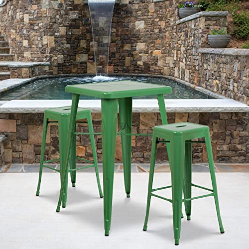 Flash Furniture 4 Pack Commercial Grade 30″ High Backless Green Metal Indoor-Outdoor Barstool