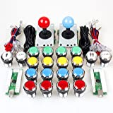 EG Starts 2 joueurs classique Arcade Contest Kit de bricolage USB Encoder Pour PC Joystick + Chrome LED éclairé bouton 1 et 2 joueurs Boutons monnaie pour arcade Mame Raspberry Pi 2 3 3B