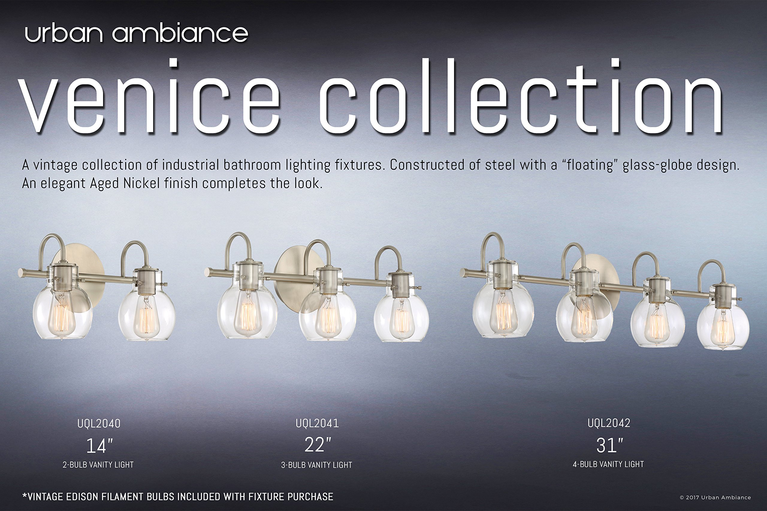Luxury Vintage Bathroom Light, Medium Size: 9''H x 14''W, with Industrial Style Elements, Floating Glass Design, Aged Nickel Finish and Clear Glass, Includes Edison Bulbs, UQL2040 by Urban Ambiance by Urban Ambiance (Image #6)