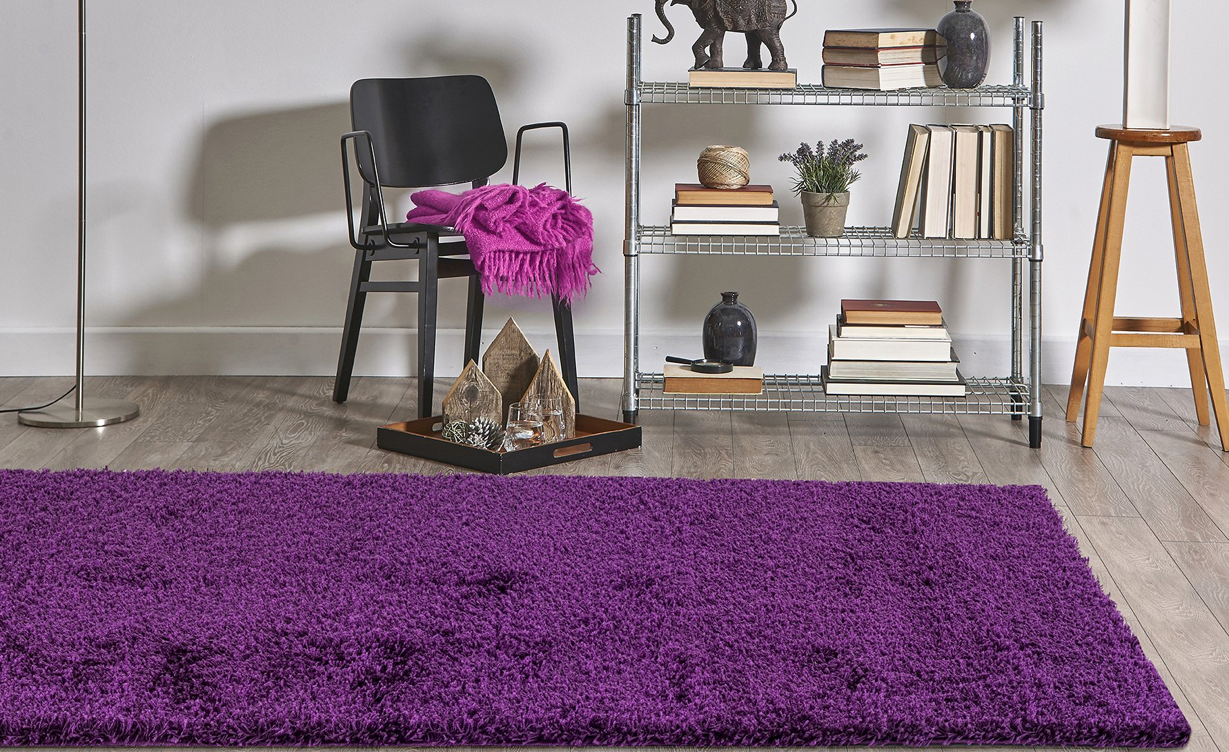 Homedora Solid Shaggy Area Rug Vivid Soft & High Pile, Thick Plush Bedroom Living Dining Kids Shag Floor Rug Purple 3' x 5'