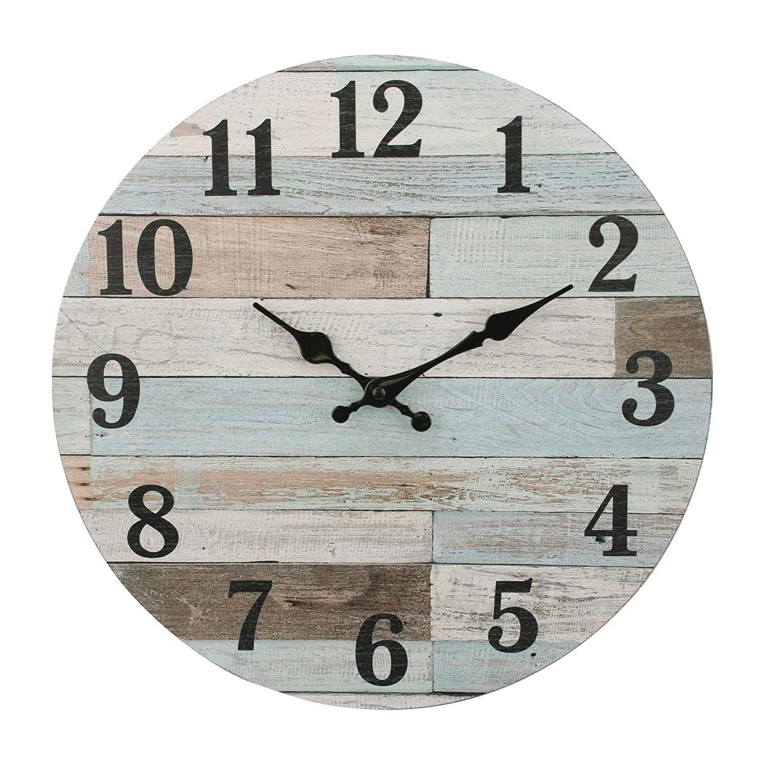 Stonebriar Vintage Coastal Worn Blue 14 Inch Round Hanging Wall Clock, Battery Operated, Rustic Wall Decor for the Living Room, Kitchen, Bedroom, and Patio
