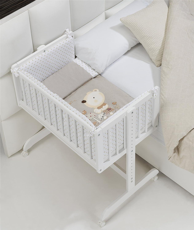 MINICUNA COLECHO COMPLETA. Incluye: Edredon desmontable con relleno + Cojín almohada + 2 Protectores con cremallera + Colchón minicuna + 4 ruedas con freno mibebestore