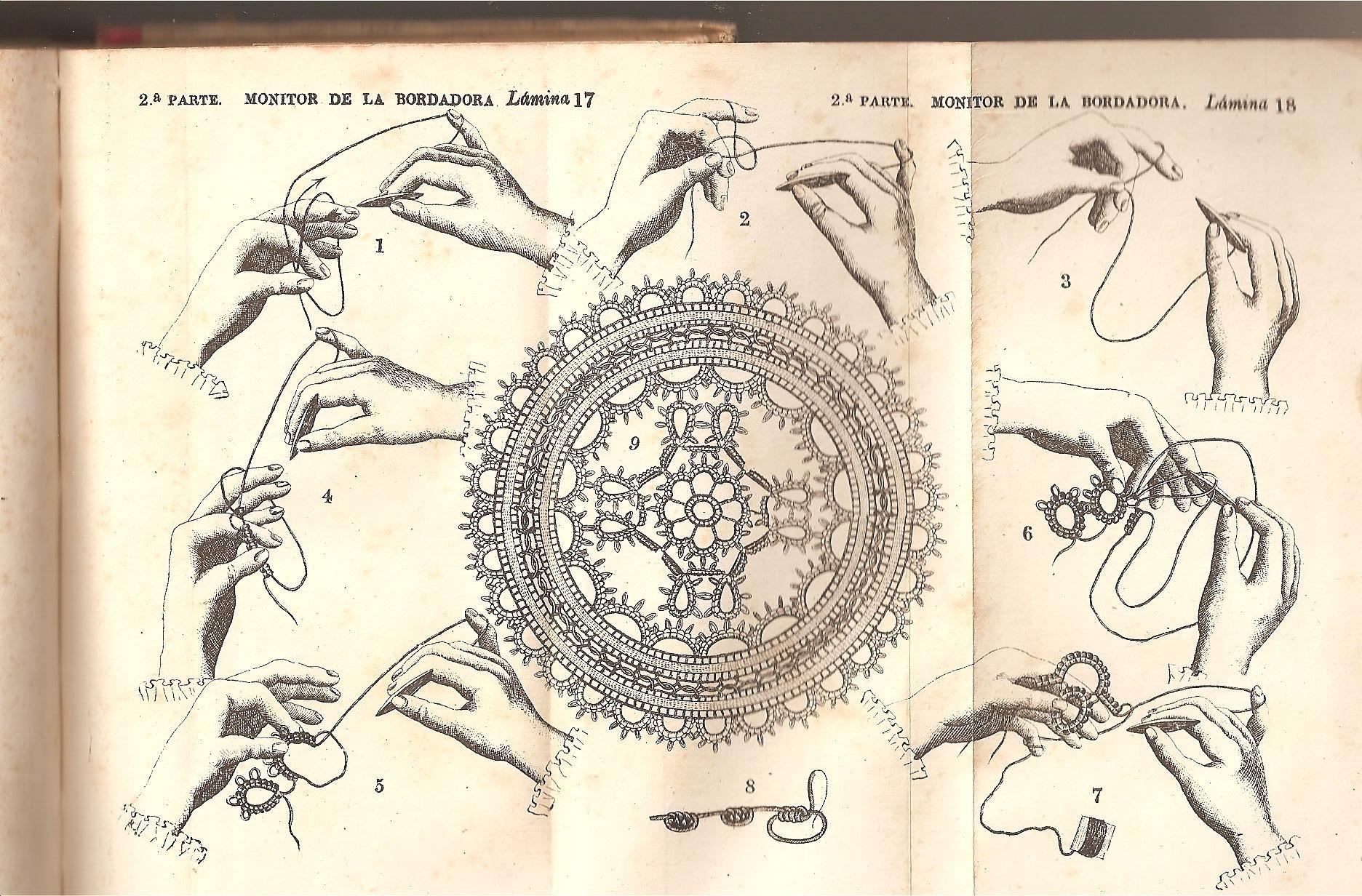MONITOR DE LA BORDADORA. Manual de toda clase de labores. Ilustrado con láminas en negro y en colores tiradas aparte y con grabados intercalados en el ...