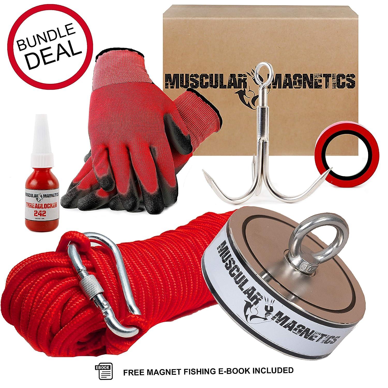 Magnet 1190kg Grappling Hook /& Tape Threadlocker 2625lb Double Sided Fishing Magnet Bundle Pack Includes 8mm 100ft High Strength Nylon Rope with Carabiner Non-Slip Nylon Gloves 2625lb