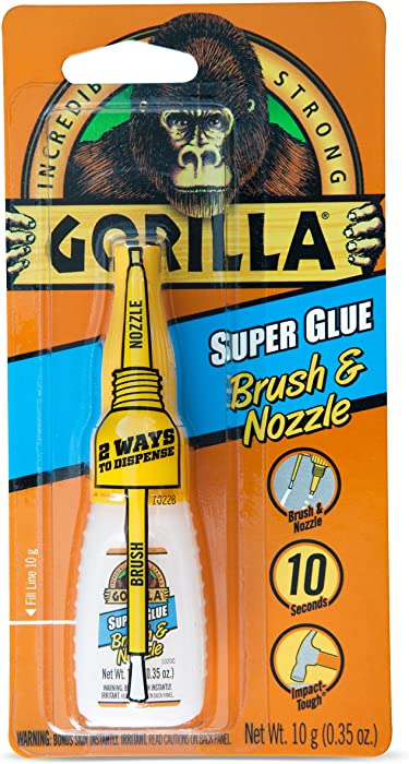 Gorilla Super Glue with Brush & Nozzle Applicator, 10 Gram, Clear, (Pack of 1)