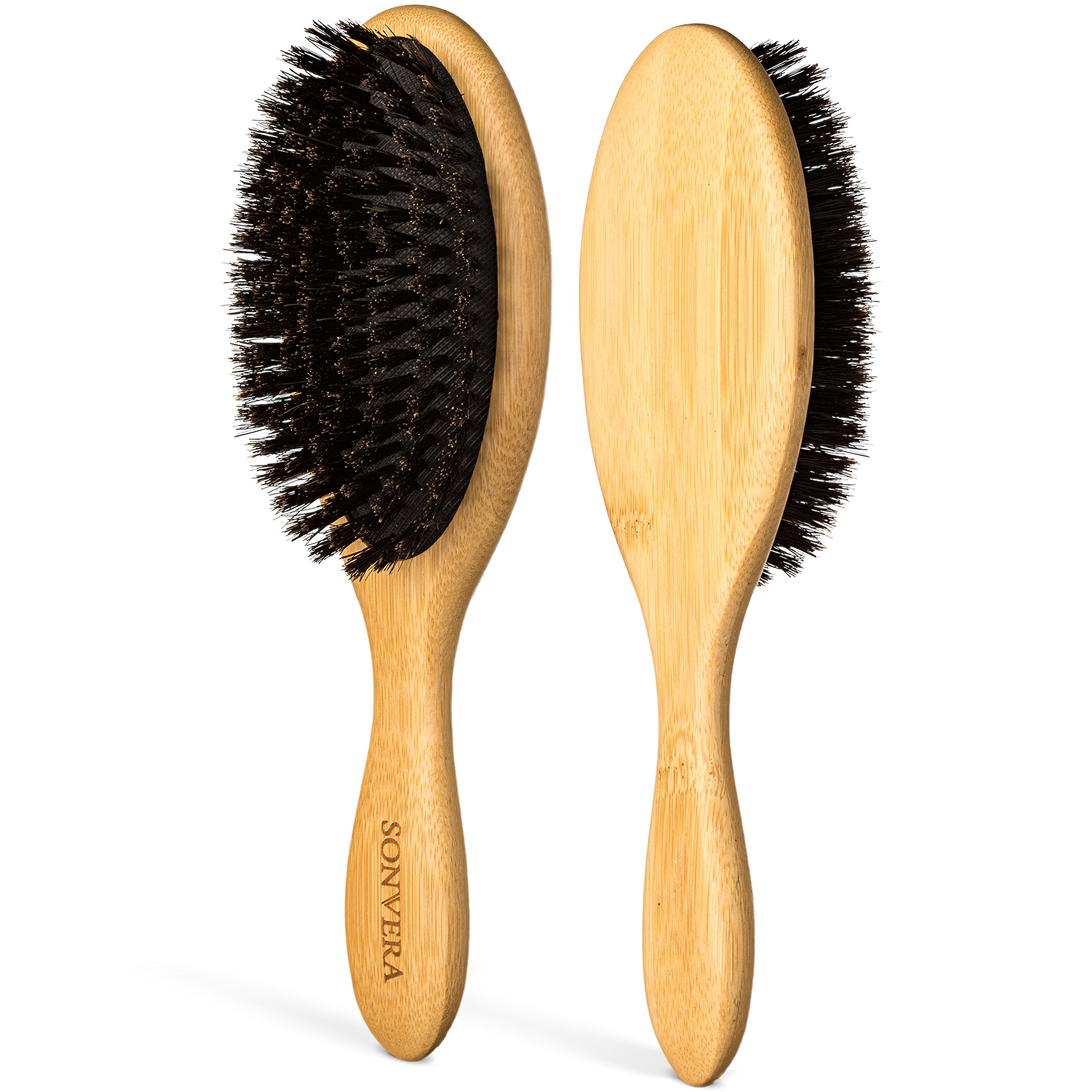 Boar Bristle Hair Brush by Sonvera, Boar Brush, Organic Mens Hair Brush, Boars Hair Brush for Men Women, Soft 100% Natural Bristle Hair Brushes, Round Bamboo (1)